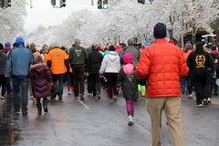 Group of runners and walkers participating in the Annual Christopher Dailey Turkey Trot,Saratoga,NY,2014 Royalty Free Stock Images