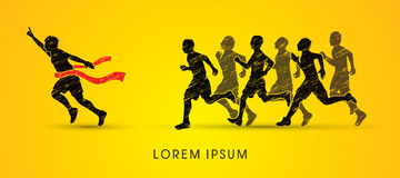 Group or runners, the winner. Graphic vector Royalty Free Stock Images