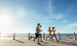 Group running along a seaside promenade. Portrait of young runners on the sea front path along the shoreline. Group running along a seaside promenade stock photo