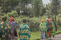Group of rural Rwandan women in colorful traditionals clothes walking along the road, Kigali, Rwanda. Adult africa african black chores colored costume culture stock photography