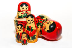 A Group of Russian Dolls Isolated Royalty Free Stock Photo