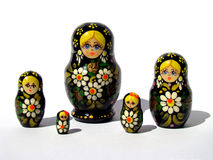 Group of russian matrioskas. In white background width shadow projection Royalty Free Stock Photos