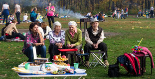 Group of Russian Pensioners in a Park Stock Photography