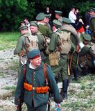A group of Russian soldiers-reenactors. Royalty Free Stock Images