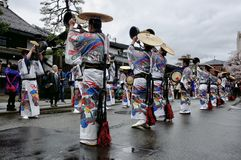 The group`s ceremony at the Takayama festival