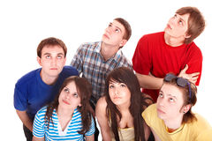Group of sad people looking up. Royalty Free Stock Photos