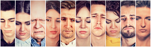 Group of sad people men and women. Negative human emotions Royalty Free Stock Photo