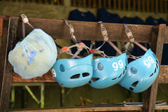 Group of safety helmets for jungle adventure extreme sport Royalty Free Stock Photography