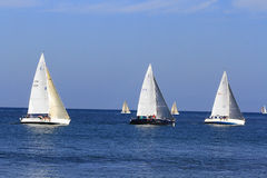Group of Sailboats in race. Santa Barbara, California August 2014 sailboats in race called Wet Wednesday, this event starts March and goes through October 15th Stock Photo