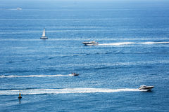 Group sailing of luxury yachts in Mediterranean Sea near French Royalty Free Stock Photo