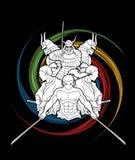 Group of Samurai, Ready to fight action cartoon graphic vector. Group of Samurai, Ready to fight action cartoon illustration graphic vector Stock Photography