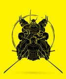 Group of Samurai, Ready to fight action cartoon graphic vector. Group of Samurai, Ready to fight action cartoon  illustration graphic vector Royalty Free Stock Images