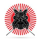 Group of Samurai, Ready to fight action cartoon graphic vector. Group of Samurai, Ready to fight action cartoon  illustration graphic vector Stock Image