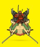 Group of Samurai, Ready to fight action cartoon graphic vector. Group of Samurai, Ready to fight action cartoon illustration graphic vector Stock Images
