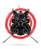 Group of Samurai, Ready to fight action composition graphic vector Royalty Free Stock Photos