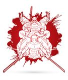 Group of Samurai, Ready to fight action graphic vector. Group of Samurai, Ready to fight action illustration graphic vector Royalty Free Stock Photography