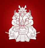Group of Samurais, Ready to fight composition graphic vector Royalty Free Stock Photos