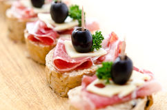 Group of sandwich appetizers Royalty Free Stock Photos