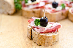 Group of sandwich appetizers Royalty Free Stock Photo