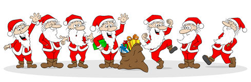 Group of santa clauses wishes merry christmas Stock Photos