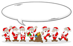 Group of santa clauses wishes merry christmas Stock Image