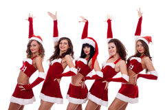 Group of santa women Royalty Free Stock Image