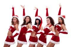 Group of santa women royalty free stock image