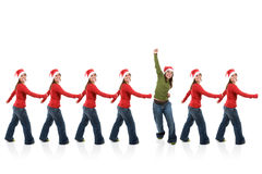 Group of santa women in line Royalty Free Stock Photos
