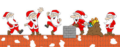 Group of  santas at work on a roof Stock Images