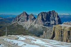 Group Sassolungo - Dolomites. Sassopiatto and Sassolungo seen from the top of Pordoi, Dolomites - Italy royalty free stock image