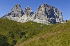 The Group of Sassolungo, Dolomites - Italy. View from Sella Pass on the Group of Sassolungo, Dolomites - Italy stock image