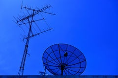 The group of satellite dish and attenna. Royalty Free Stock Images