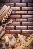 Group of sauna accessories on textured wooden place mat vertical Stock Photo