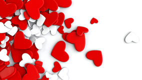 The group scattered hearts on a white background. Valentine`s day background. The group scattered hearts on a white background . Valentine`s day background. 3d Stock Photography