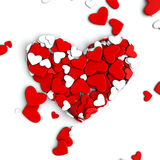 The group scattered hearts on a white background. Valentine`s day background. The group scattered hearts on a white background . Valentine`s day background. 3d Royalty Free Stock Photography