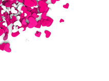 The group scattered hearts on a white background. Valentine`s day background. The group scattered hearts on a white background . Valentine`s day background. 3d Royalty Free Stock Photos