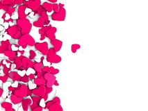 The group scattered hearts on a white background. Valentine`s day background. The group scattered hearts on a white background . Valentine`s day background. 3d Stock Photos
