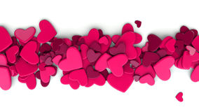 The group scattered hearts on a white background. Valentine`s day background. The group scattered hearts on a white background . Valentine`s day background. 3d Stock Photo