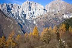 The group of Schiara and the Gusela  del Vescova, Dolomites, Belluno Royalty Free Stock Photos