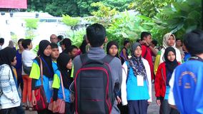 Group of school boys and girls returning home after the Tour on Penang Hil. Group of elementary school kids returning home after stock video footage