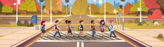 Group Of School Children Crossing Road On Crosswalk With Traffic Lights Royalty Free Stock Photos