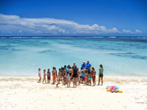 School Children Swimming Ocean Island Stock Image