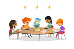 Group of school children sitting around circular table with large pile of books on it, reading and preparing for lesson vector illustration