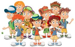 Group of School Children vector Stock Photo