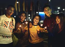 Group of school friends happiness and playing firework stock photo