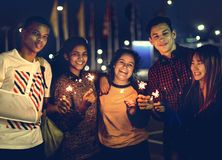 Group of school friends happiness and playing firework stock images
