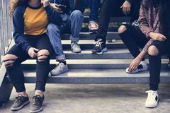 Group of school friends outdoors lifestyle and after school hangout concept stock image