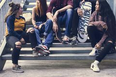Group of school friends outdoors lifestyle and street urban style concept royalty free stock photos