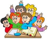 Group of school kids. Illustration Stock Photos