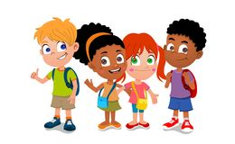 Group of school kids. Colorful illustration of a group of happy children of mixed race smiling, waving and with thumbs up (waiting for the school bus), white Stock Photography